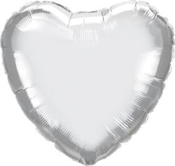 Qualatex Heart Foil Chrome Silver 45cm Unpackaged