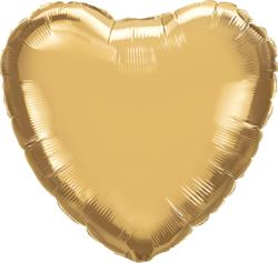 Qualatex Heart Foil Chrome Gold 45cm Unpackaged