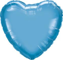 Qualatex Heart Foil Chrome Blue 45cm Unpackaged