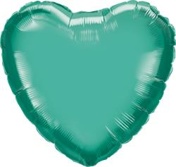 Qualatex Heart Foil Chrome Green 45cm Unpackaged
