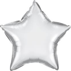 Qualatex Star Foil Chrome Silver 45cm Unpackaged