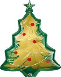 "Christma Tree Brushed Gold 40"" Shape Balloon"