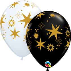 Star Patters 28cm Latex Balloons. Assorted White and Onyx Black