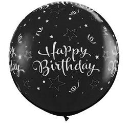 Qualatex Balloons Birthday Shining Stars Around Onyx Black 90cm
