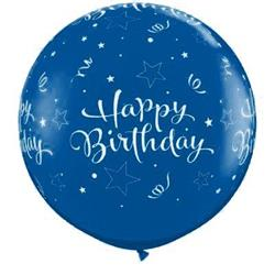 Qualatex Balloons Birthday Shining Stars Around Sapphire Blue 90cm