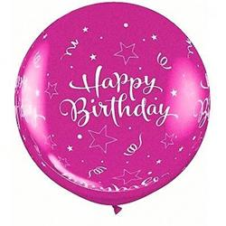 Qualatex Balloons Birthday Shining Stars Around Jewel Magenta 90cm
