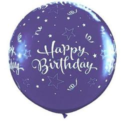 Qualatex Balloons Birthday Shining Stars Around Purple Violet 90cm