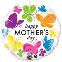 Qualatex Balloons Happy Mothers Day Vivid Butterflies 45cm