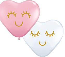 Qualatex Latex Asstd Pink and White Hearts with Eylashes15cm