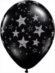 Qualatex Balloons Glitter Stars & Stars Around Onyx Black 28cm