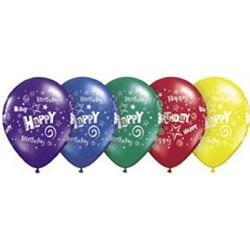Qualatex Balloons Birthday Stars & Swirls J/Tone 12cm