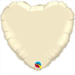 Qualatex Balloons Heart Foil Pearl Ivory 45cm   Unpackaged