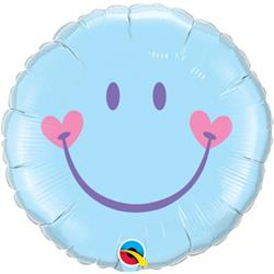 Qualatex Balloons Sweet Smile Face Light Blue 45cm