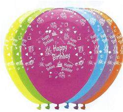 Happy Birthday Bright Mix Latex 30cm