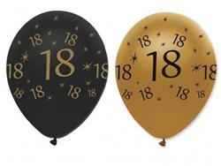 Latex Balloons18 Black & Gold 30cm-bag 25