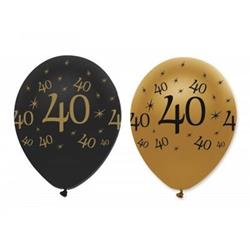 Latex Balloons 40 Black & Gold 30cm