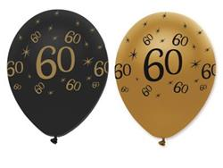 Latex Balloons 60 Black & Gold 30cm bag 25