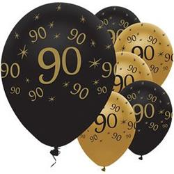 Latex Balloons 90 Black & Gold 30cm-bag 25