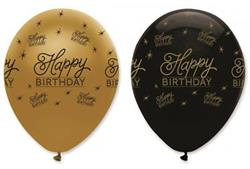 Happy Birthday Latex Balloons Black & Gold 30cm.