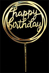 Happy Birthday cake topper gold circles