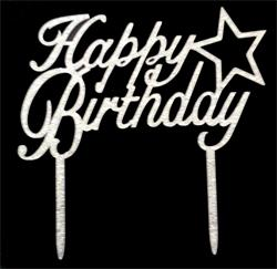 Happy Birthday cake topper silver star