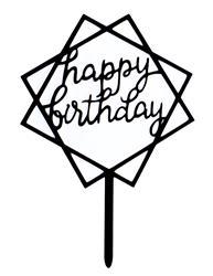 Happy Birthday cake topper black squares