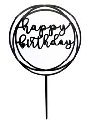 Happy Birthday cake topper black circles