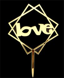 LOVE cake topper gold squares
