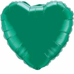 "Heart Foil Emerald Green 36""  Unpackaged"