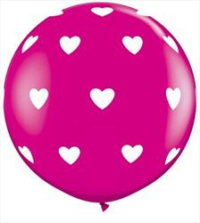Qualatex Balloons Big Hearts Magenta 90cm