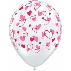 Qualatex Balloons Red & Pink Hearts D/Clear 28cm