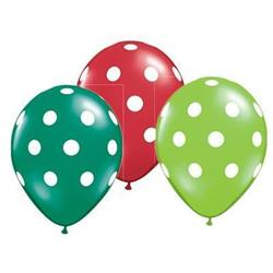Big Polka Dots Green & Red Asst 28cm
