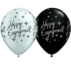 Qualatex Balloons Engagement Elegant Sparkles Silver & Black 28cm 25cnt